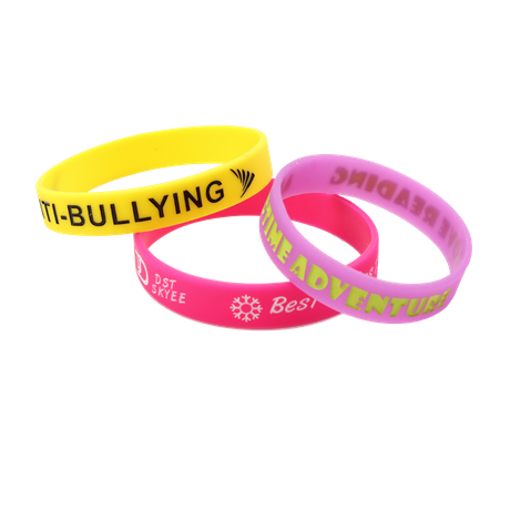 Skyee 2019 Selling Custom Debossed Color Fill in Silicone Wristband with Your Logo