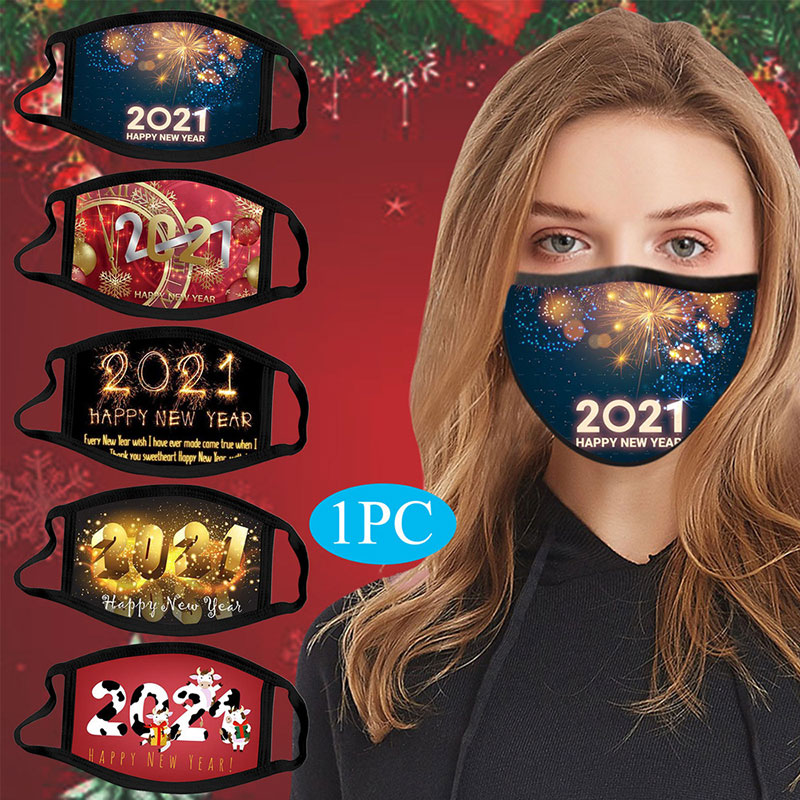 Wholesale washable christmas fashionable new year cute women men face mask